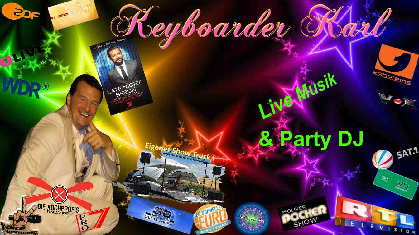 Alleinunterhalter Düsseldorf und Party DJ Düsseldorf Echte Referenzen auf Visitenkarte
